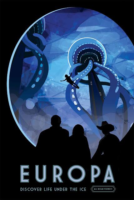 Poster retro de viagem espacial - NASA - lua Europa
