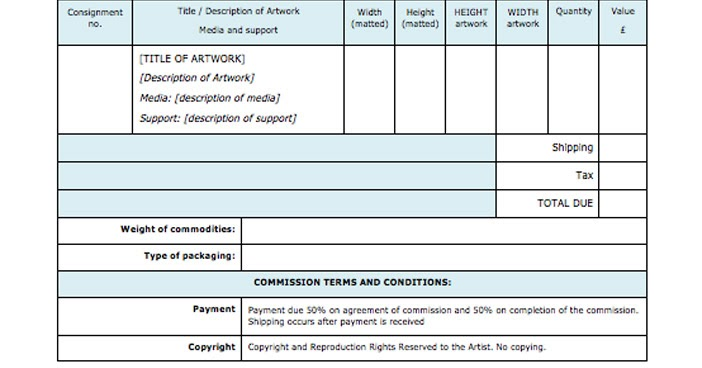 MAKING A MARK Exporting Art (Part 1) The Invoice