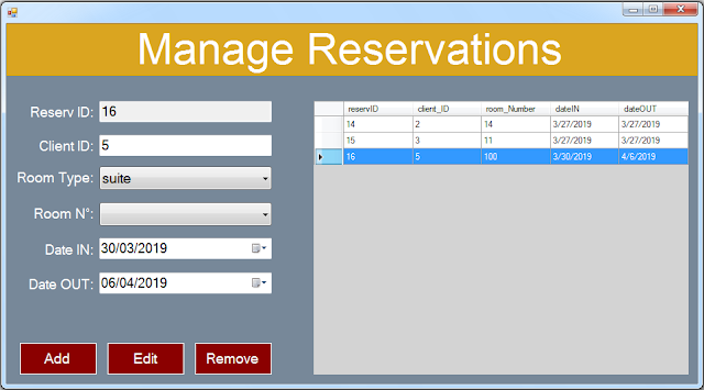 vb.net hotel management system - manage reservations form