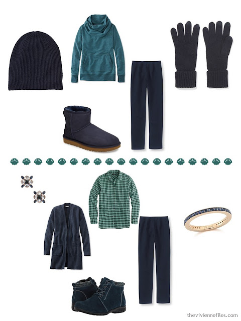 2 outfits from a 4 by 4 Wardrobe in navy, beige and teal