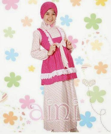 Baju Musilm Anak Perempuan warna Pink