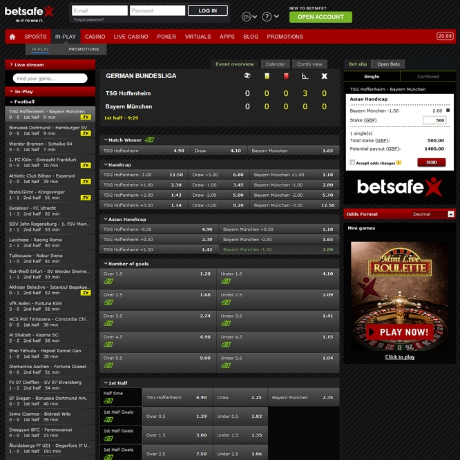 Betsafe Live Betting Screen