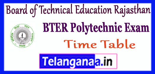 BTER Board of Technical Education Rajasthan Diploma Exam Date Time Table