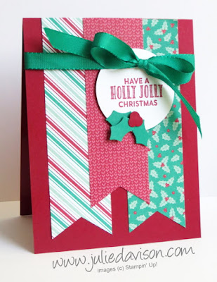 Stampin' Up! Stitched with Cheer Presents & Pinecones Banner Christmas Card #stampinup www.juliedavison.com