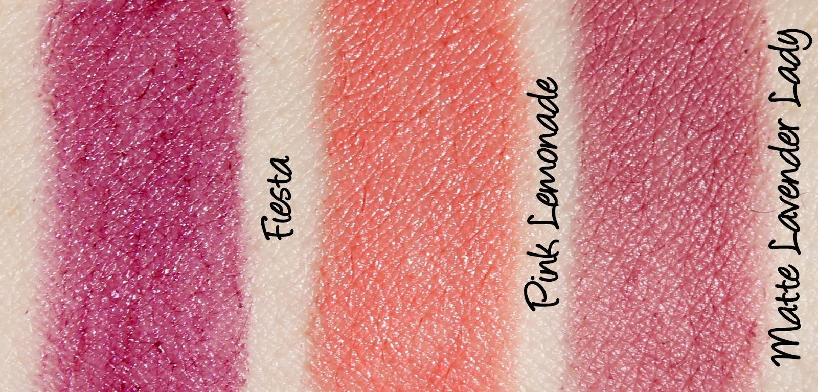 Jordana Lipsticks - Matte Lavender Lady, Fiesta and Pink Lemonade Swatches & Review