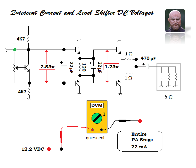 Measuring quiescent current + the voltage dropped across both NPN/PNP power follower bases.