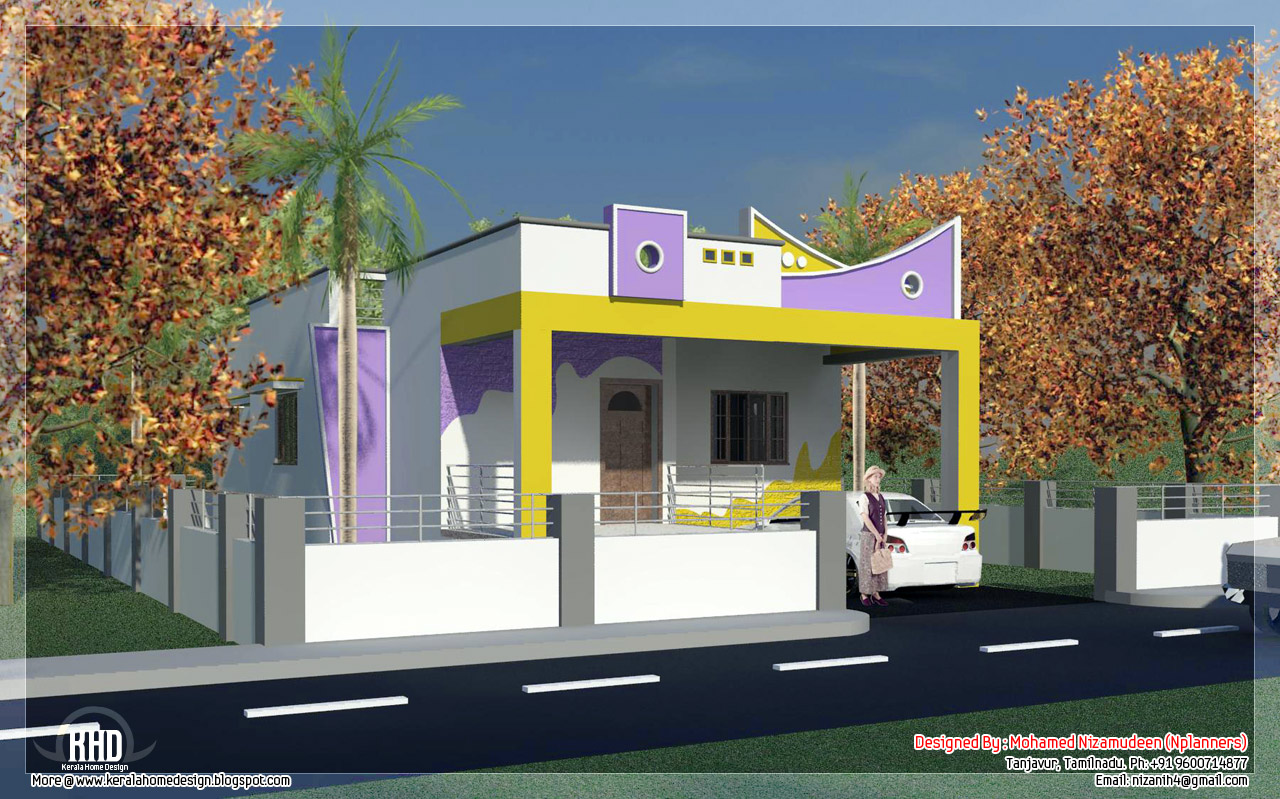 3 bedroom south india style minimalist tamilnadu house for Indian house outlook design