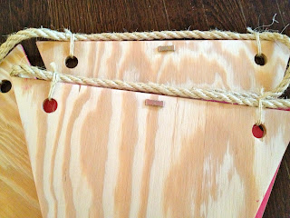how to hang wood bunting with rope and sawtooth hangers