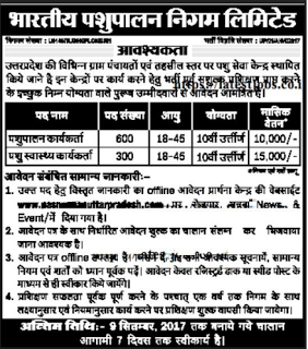 UP BPNL Pashupalan Karyakarta Jobs