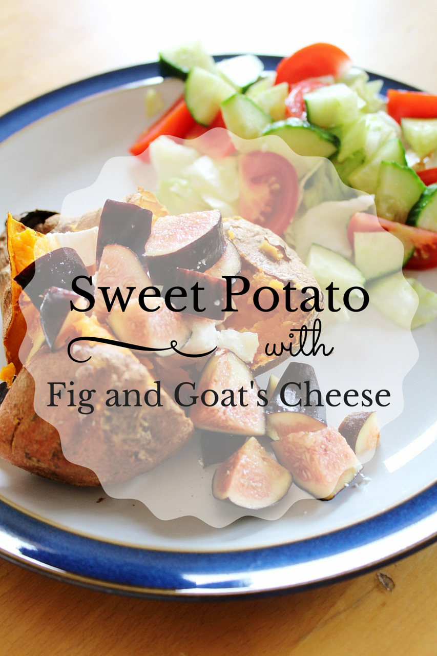 Recipe for baked sweet potato with fig and goat's cheese