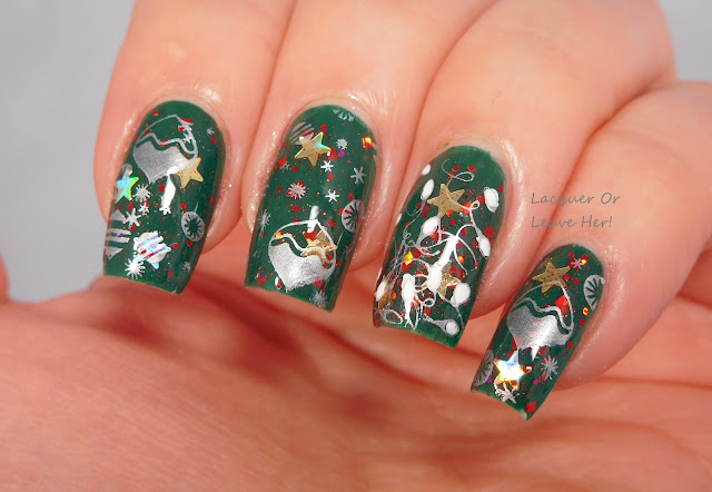 Winstonia Holly Jolly Christmas over Zoya Wyatt + Spellbound Nails Christmas Morning + Girly Bits stamping polishes