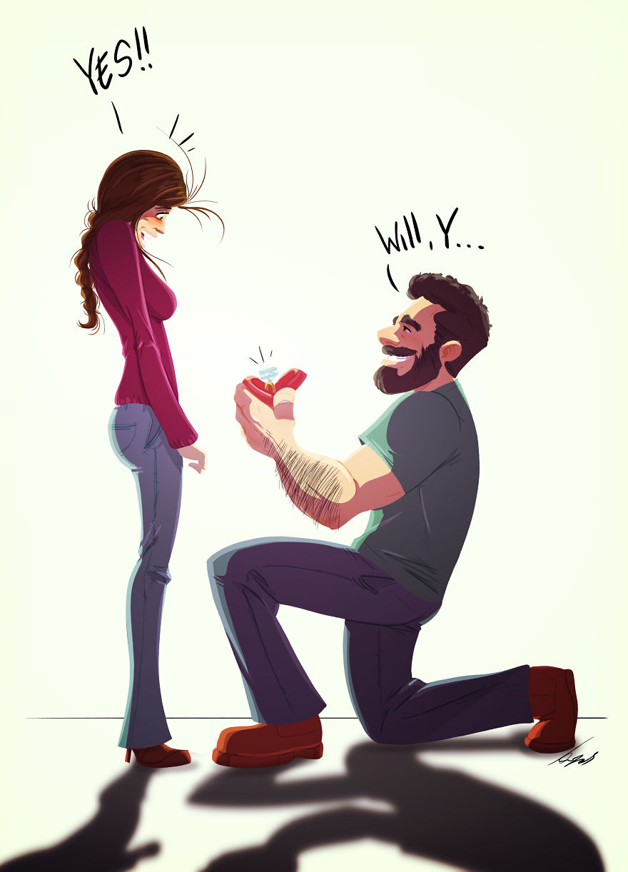 Man Draws Funny Comics Illustrating Everyday Life With His Partner - I Just Got Engaged