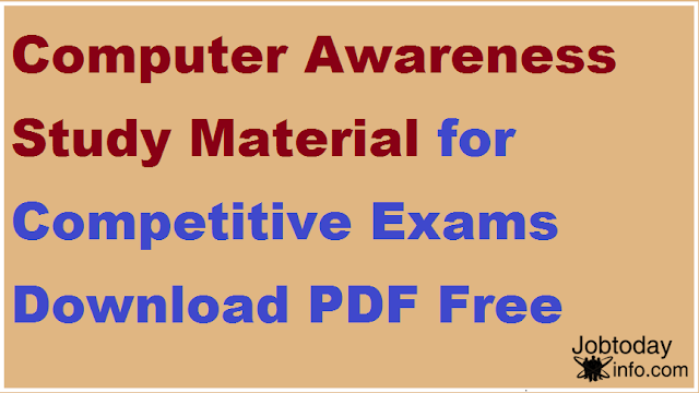 Computer Awareness Study Material for Competitive Exams Download PDF Free