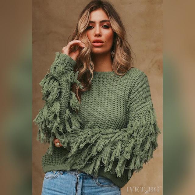 Εντυπωσιακό γυναικείο χακί πουλόβερ KRISTI KHAKI