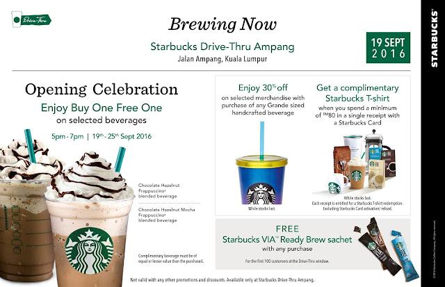 Starbucks Ampang Drive-Thru Store Buy 1 Free 1 Promo