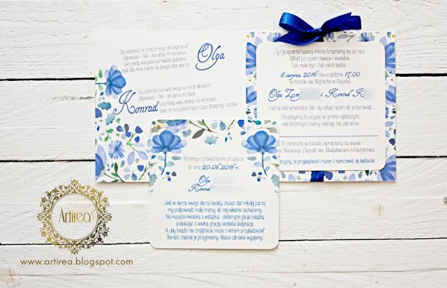 zaproszenia slubne niebieskie oryginalne nowoczesne kwiatowe artirea