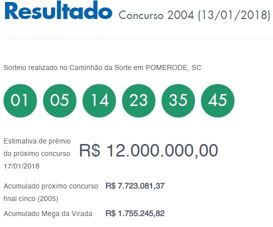 Mega Sena 2004 - Resultado de 13-01-2018