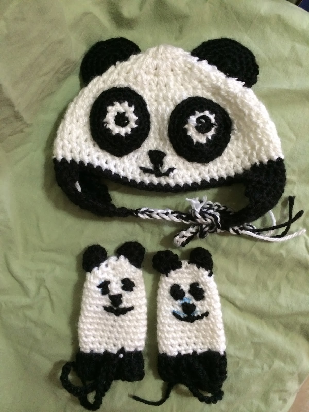 2b35c78c6dc Crochet Panda Bear Baby Hat And Mittens