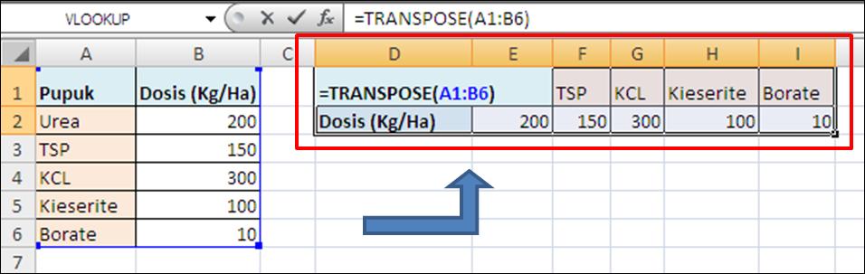 Contoh Rumus Excel Array TRANSPOSE