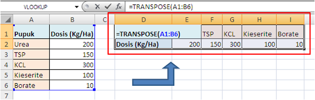 Contoh Rumus Excel Array TRANSPOSE