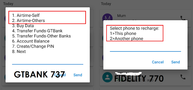 GTBank 737 and Fidelity Bank 770 USSD airtime recharge options: Self and Others