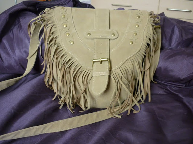 beige over should long strap bag with tassels