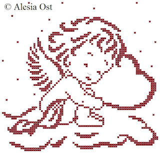 Free cross-stitch patterns, Sleeping Cupid, Cupid, Valentine's Day, holiday, silhouette, clipart, cross-stitch, back stitch, cross-stitch scheme, free pattern, x-stitchmagic.blogspot.it, вышивка крестиком, бесплатная схема, punto croce, schemi punto croce gratis, DMC, blocks, symbols, patrones punto de cruz, #crossstitch_pattern, #crossstitch