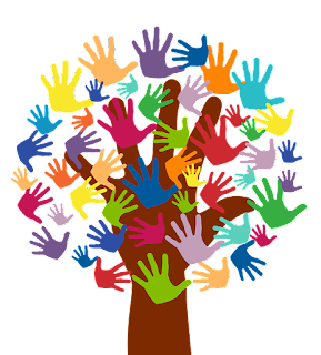 Hand tree with colorful hand leaves of all sizes