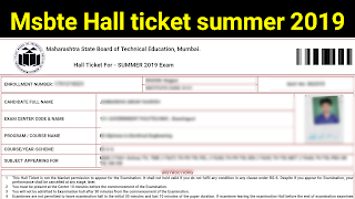 Msbte hall ticket 2019