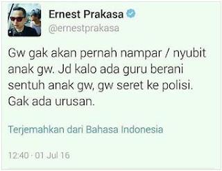 HEBOH... Netizen Bully Aktor Ernest Prakasa yang Bakal Seret Guru ke Polisi Jika Cubit Anaknya