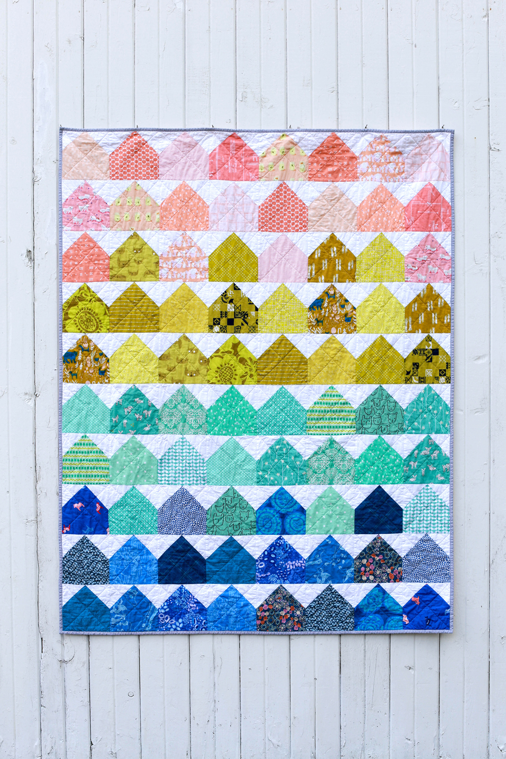 In Color Order Finished Modern House Quilt