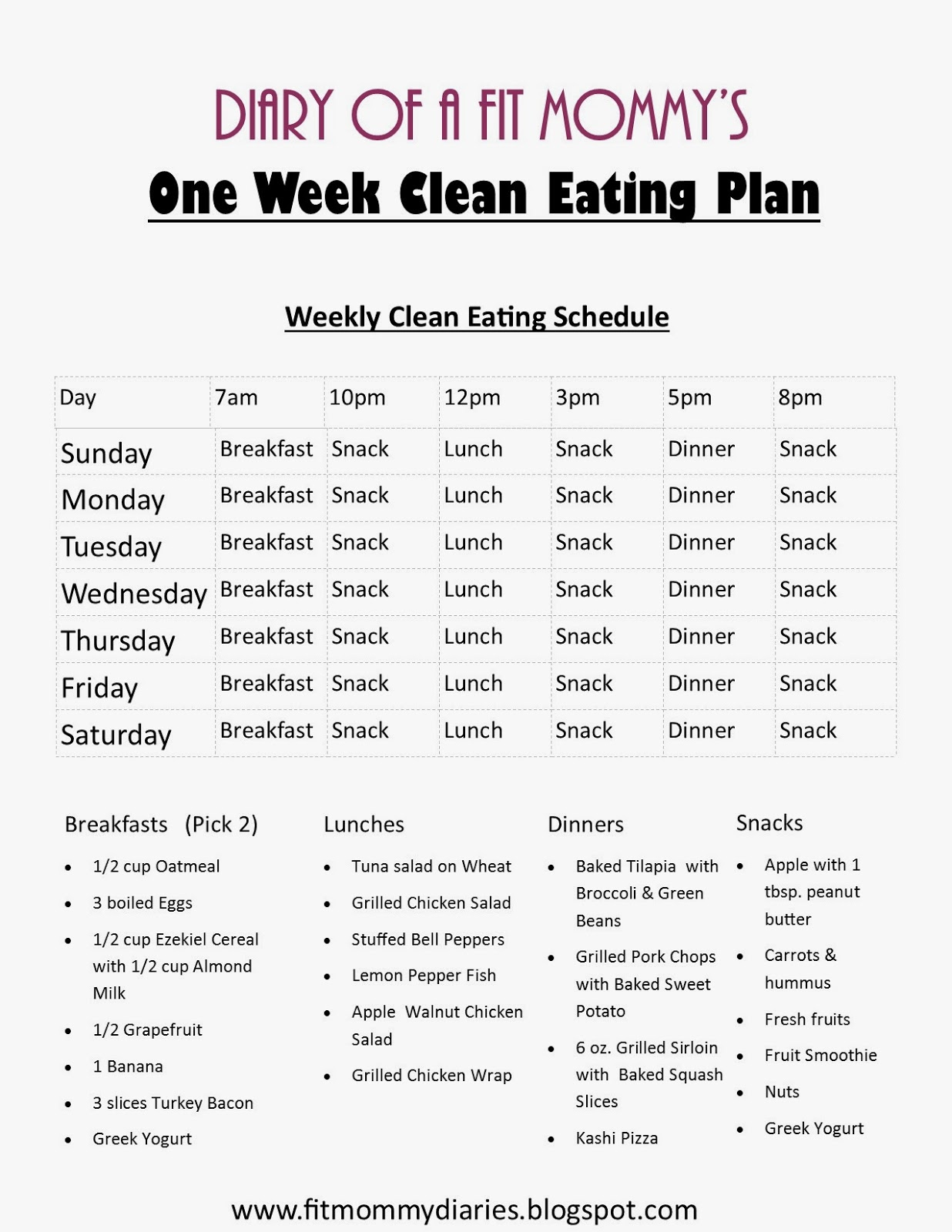 Sample Meal Plan & Grocery Shopping List for the 21 Day Fix Program