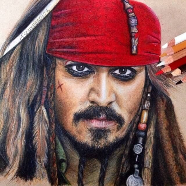 11-Captain-Jack-Sparrow-Johnny-Depp-from-Pirates-of-the-Caribbean-Chris-Superhero-and-Villain-Realistic-Pencil-Drawings-www-designstack-co
