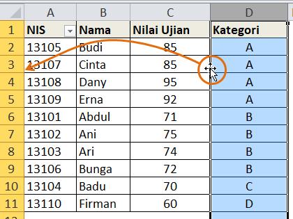 Carag Drag & Drop Kolom Excel