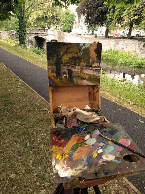 Kevin McSherry summer schedule en plein air art class, painting at the Huband Bridge in Dublin. July 2018