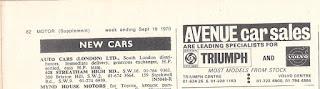 Avenue Car Sales advert from Motor 19 September 1970