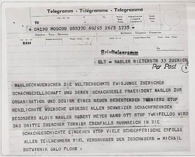 Telegrama enviado por Mikhail Botvinnik y Salo Flohr