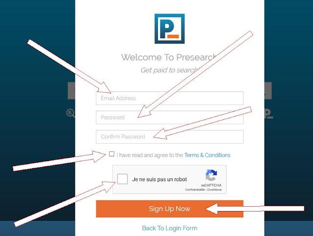 رابط تسجيل في Presearch
