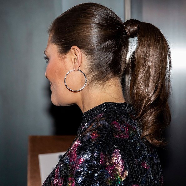 Crown Princess Victoria wore H&M Sequin-embroidered Jacket. The Crown Princess arrived Swedish Parasport gala