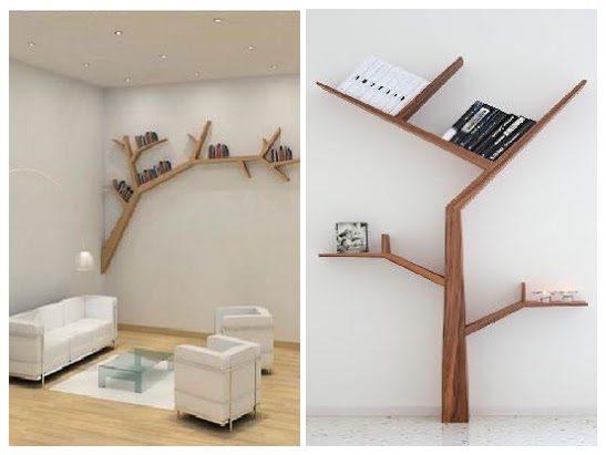 unique tree wall shelf ideas, creative wooden tree shalves