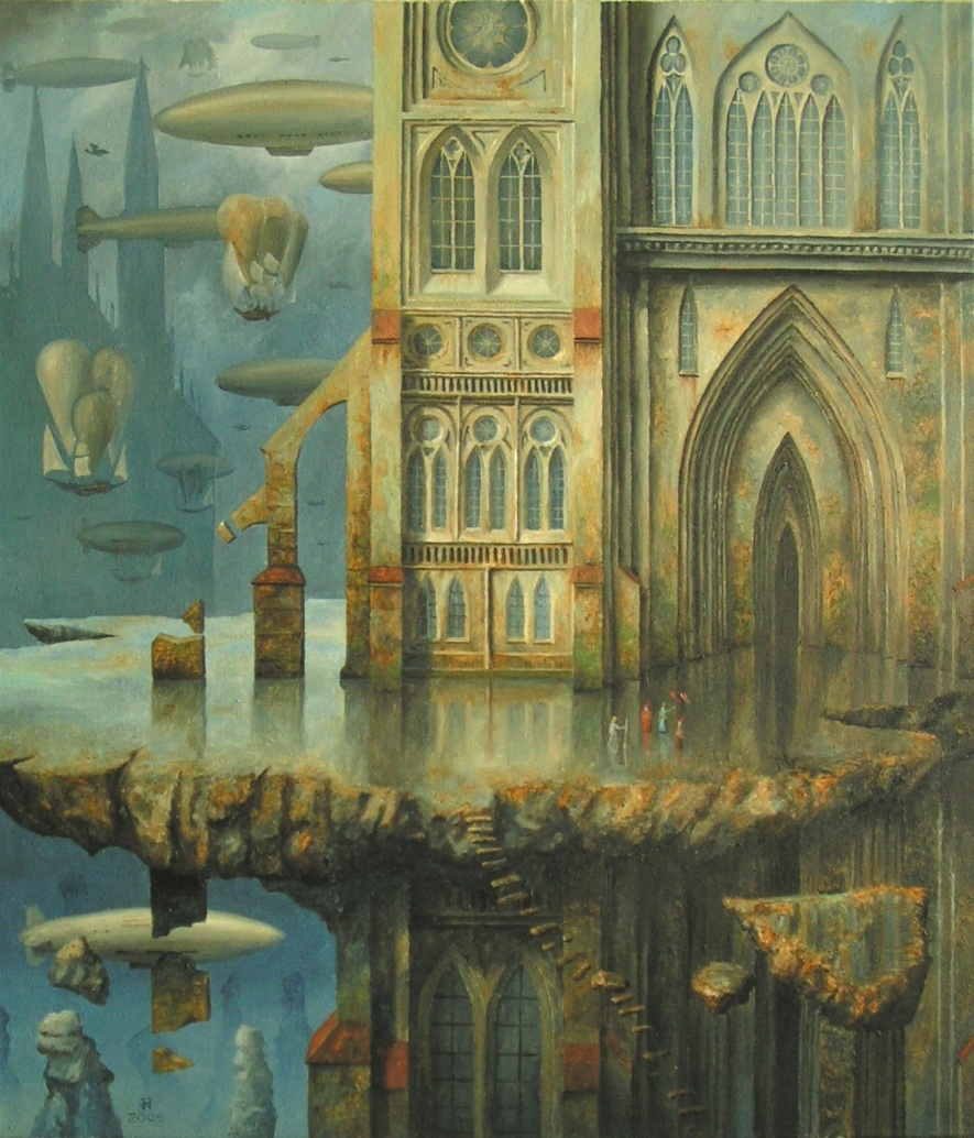 08-The-arrival-of-an-emissary-Jaroslaw-Jaśnikowski-Paintings-of-Surreal-Architecture-with-Gothic-Undertones-www-designstack-co
