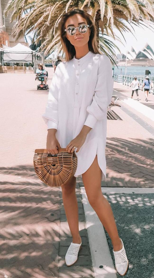 comfy summer outfit / bag + white shirt dress + loafers