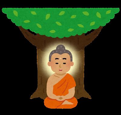 菩提樹の木の下で悟りを開くブッダのイラスト