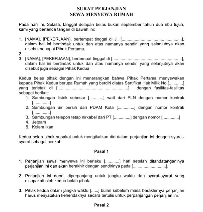 surat perjanjian sewa menyewa kontrak rumah