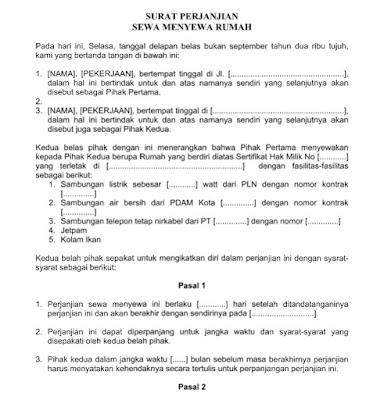 Contoh Surat Resmi Perjanjian Sewa Menyewa Rumah Format Word