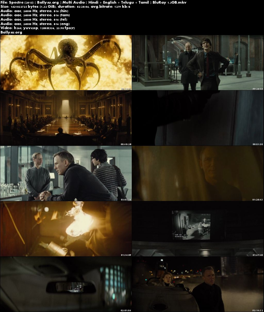 Spectre 2015 BluRay 720p Hindi Dubbed Multi Audio 720p Download