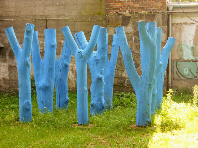 Things to do in Gdansk Poland: Look for art like these blue trees