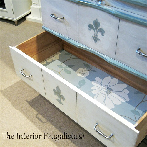 Wallpaper lined drawers on Faux Secretary Desk