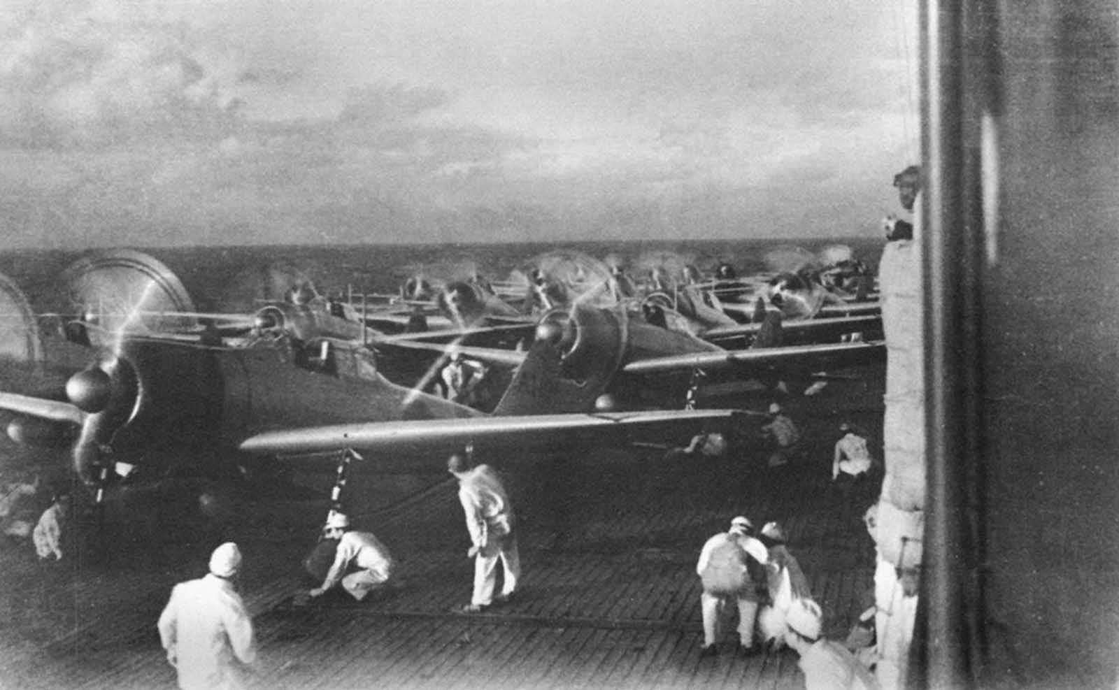 Aircraft prepare to launch from the Imperial Japanese Navy aircraft carrier Akagi during the December 7, 1941 attack on Pearl Harbor, Hawaii.