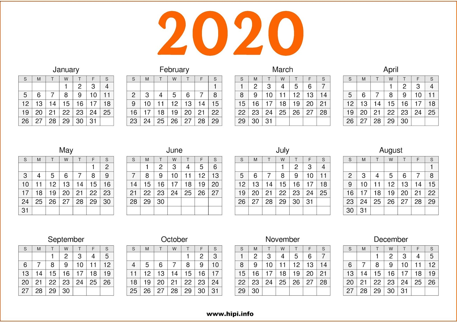 Printable 1 Page 2020 Calendar Twitter Headers / Facebook Covers / Wallpapers / Calendars: 2020